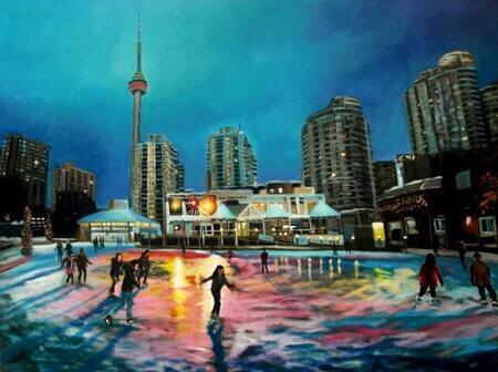 Harbourfront Ice Rink (painted from a photograph by Tim Fraser)